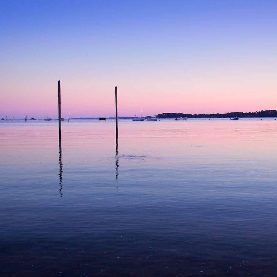 Dégradés de rose et bleu sur le Bassin d'Arcachon