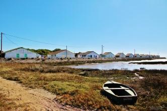 Les cabanes du port depuis l'entrée de la réserve